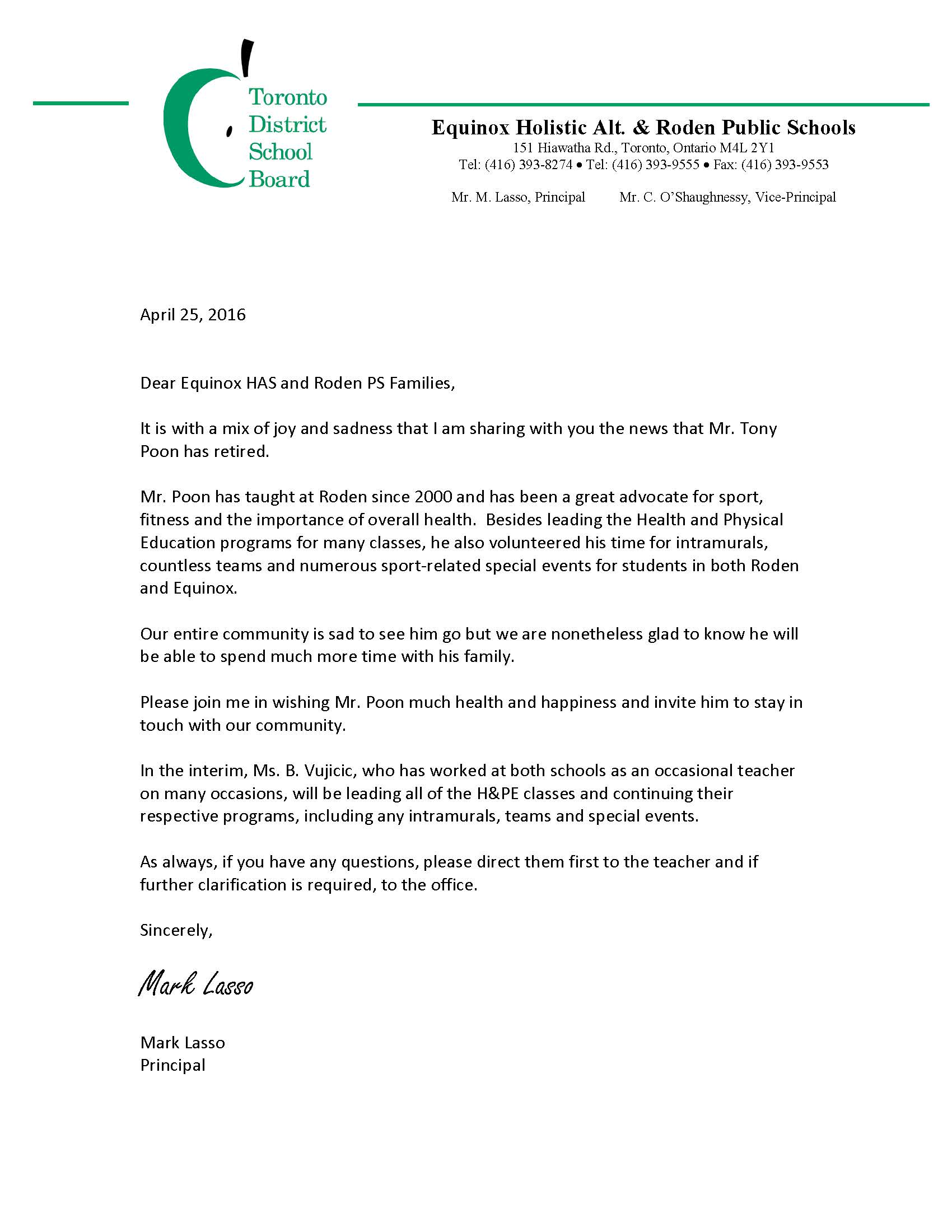 Retirement Letter - Mr. Poon