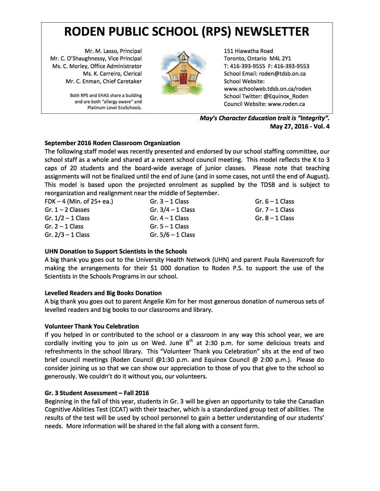 Roden Newsletter 16-05-27