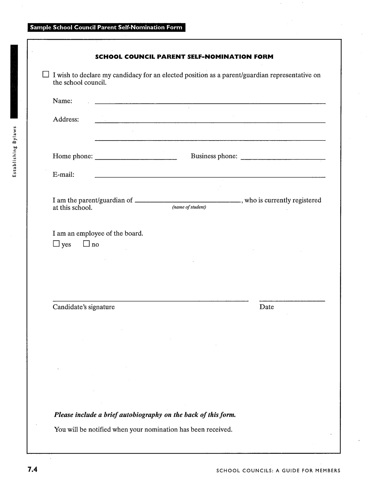 Council Self Nomination Form