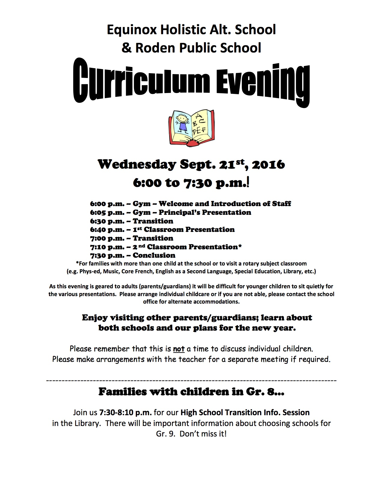 Curriculum Evening Flyer 2016