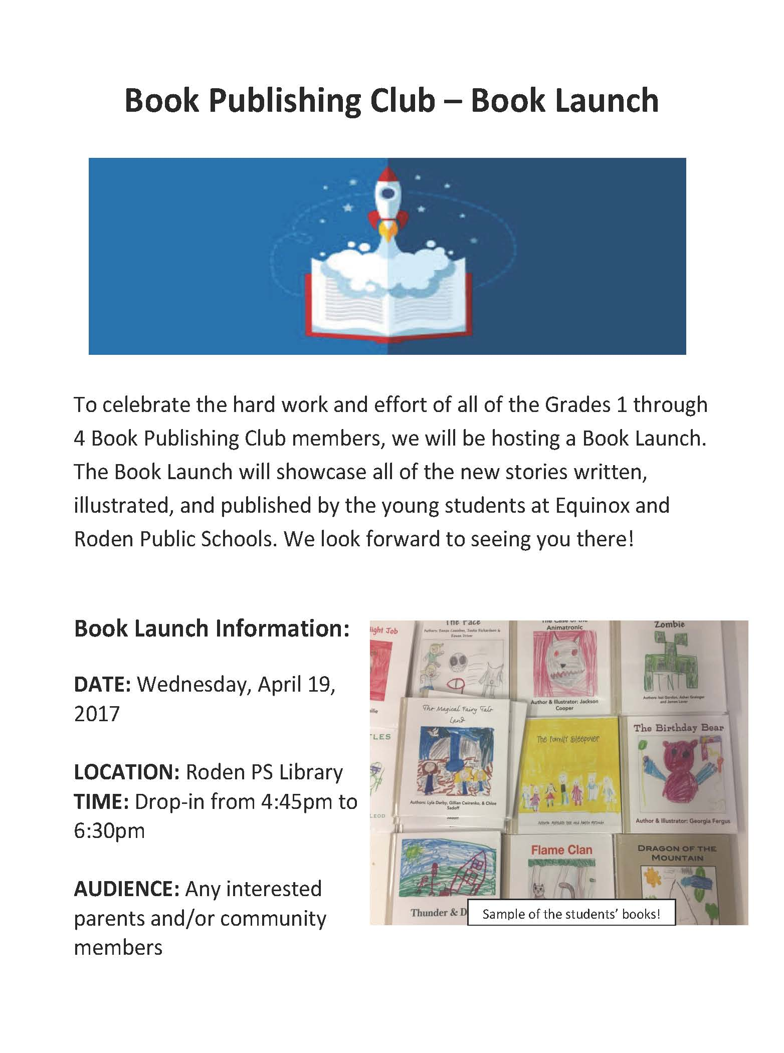 Book Publishing Club LAUNCH FLYER circulate